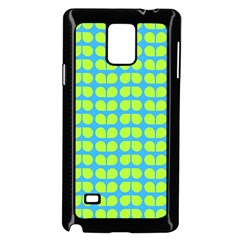 Blue Lime Leaf Pattern Samsung Galaxy Note 4 Case (Black)