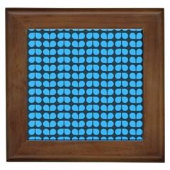 Blue Gray Leaf Pattern Framed Ceramic Tile