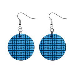 Blue Gray Leaf Pattern Mini Button Earrings