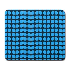 Blue Gray Leaf Pattern Large Mouse Pad (rectangle)