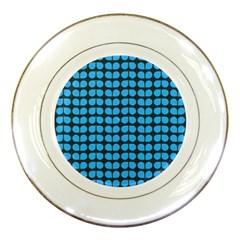 Blue Gray Leaf Pattern Porcelain Display Plate