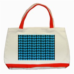 Blue Gray Leaf Pattern Classic Tote Bag (Red)
