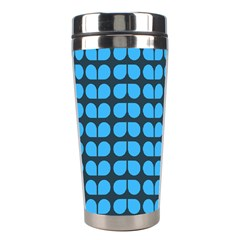 Blue Gray Leaf Pattern Stainless Steel Travel Tumbler