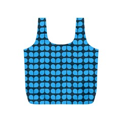 Blue Gray Leaf Pattern Reusable Bag (S)