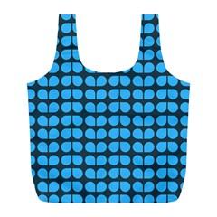 Blue Gray Leaf Pattern Reusable Bag (L)
