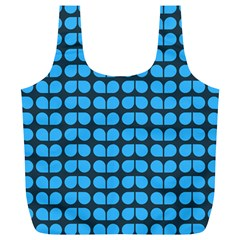 Blue Gray Leaf Pattern Reusable Bag (XL)