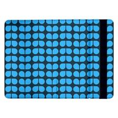 Blue Gray Leaf Pattern Samsung Galaxy Tab Pro 12 2  Flip Case