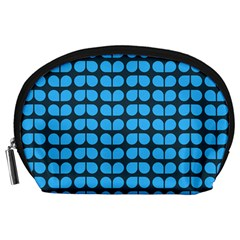 Blue Gray Leaf Pattern Accessory Pouch (large)