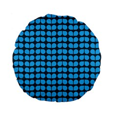 Blue Gray Leaf Pattern 15  Premium Flano Round Cushion