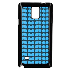 Blue Gray Leaf Pattern Samsung Galaxy Note 4 Case (Black)