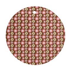 Cute Floral Pattern Round Ornament (two Sides)
