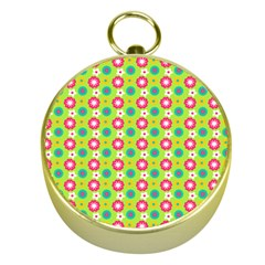 Cute Floral Pattern Gold Compass