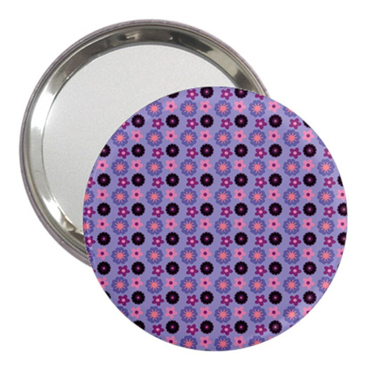 Cute Floral Pattern 3  Handbag Mirror