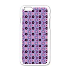 Cute Floral Pattern Apple iPhone 6 White Enamel Case