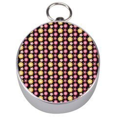 Cute Floral Pattern Silver Compass