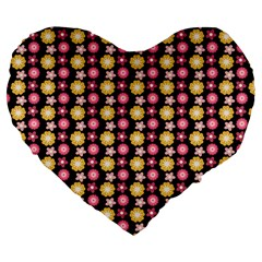 Cute Floral Pattern 19  Premium Flano Heart Shape Cushion