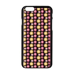 Cute Floral Pattern Apple iPhone 6 Black Enamel Case