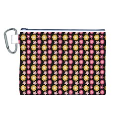 Cute Floral Pattern Canvas Cosmetic Bag (Large)