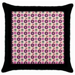 Cute Floral Pattern Black Throw Pillow Case