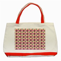 Cute Floral Pattern Classic Tote Bag (red)