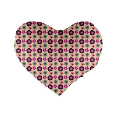 Cute Floral Pattern 16  Premium Flano Heart Shape Cushion