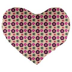 Cute Floral Pattern 19  Premium Flano Heart Shape Cushion