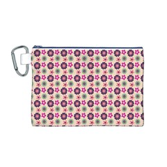 Cute Floral Pattern Canvas Cosmetic Bag (Medium)