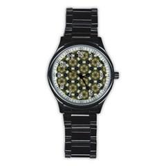 Faux Animal Print Pattern Sport Metal Watch (black)