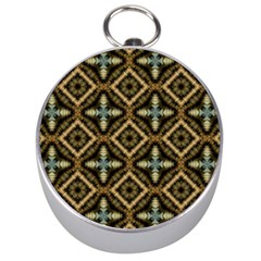 Faux Animal Print Pattern Silver Compass