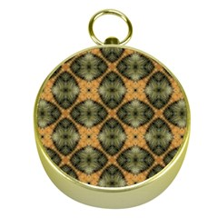 Faux Animal Print Pattern Gold Compass