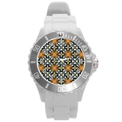 Faux Animal Print Pattern Plastic Sport Watch (large)