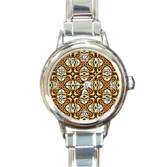 Faux Animal Print Pattern Round Italian Charm Watch