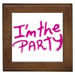 I Am The Party Typographic Design Quote Framed Ceramic Tile