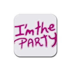 I Am The Party Typographic Design Quote Drink Coasters 4 Pack (square)