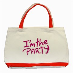 I Am The Party Typographic Design Quote Classic Tote Bag (red)