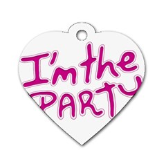 I Am The Party Typographic Design Quote Dog Tag Heart (two Sided)