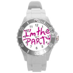 I Am The Party Typographic Design Quote Plastic Sport Watch (large)