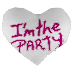 I Am The Party Typographic Design Quote 19  Premium Flano Heart Shape Cushion