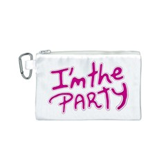 I Am The Party Typographic Design Quote Canvas Cosmetic Bag (small)