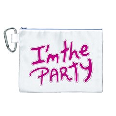 I Am The Party Typographic Design Quote Canvas Cosmetic Bag (Large)