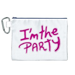 I Am The Party Typographic Design Quote Canvas Cosmetic Bag (XL)