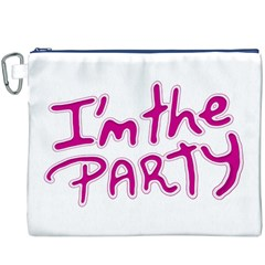 I Am The Party Typographic Design Quote Canvas Cosmetic Bag (XXXL)
