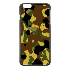 Camo Pattern  Apple Iphone 6 Plus Black Enamel Case