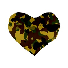 Camo Pattern  16  Premium Flano Heart Shape Cushion