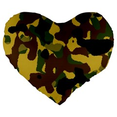 Camo Pattern  19  Premium Flano Heart Shape Cushion