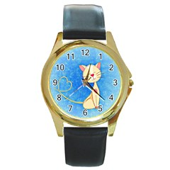 Cute Cat Round Leather Watch (gold Rim)