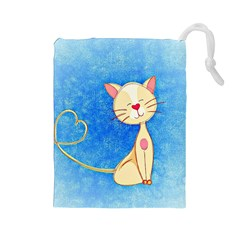 Cute Cat Drawstring Pouch (large)