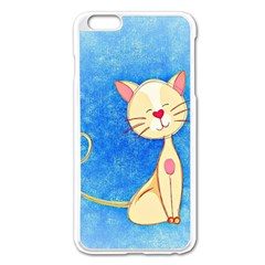 cute cat Apple iPhone 6 Plus Enamel White Case