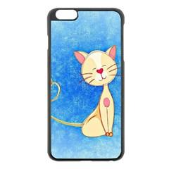 cute cat Apple iPhone 6 Plus Black Enamel Case
