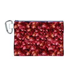 Warm Floral Collage Print Canvas Cosmetic Bag (Medium)